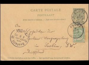 Belgien Postkarte P 30 mit Zusatzfrankatur ALOST 2.8.1900 nach BERLIN 4.8.1900