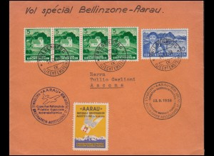 Sonderflug Aarau-Bellinzone Briefmarkenausstellung Aarau Bf. RIESENBERG 14.9.38