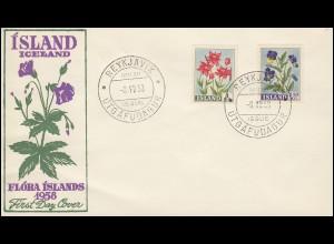 Island 323-324 Freimarken Blumen, Satz auf Schmuck-FDC ESSt 8.8.1958