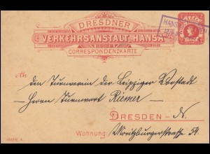 Privatpostkarte Dresdner Verkehrsanstalt Hansa, Rahmen-O HANSA-DRESDEN 12.5.1887