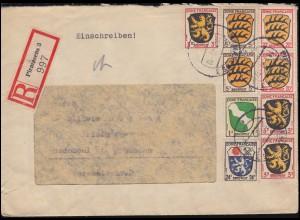 1ff Freimarken Wappen-MiF auf R-Brief PIRMASENS 18.1.1947 nach RADEBEUL 4.2.47