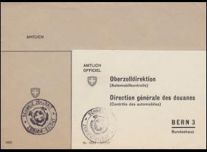 Schweiz Dienstbrief Zollamt Zürich an Oberzolldirektion Automobilkontrolle Bern