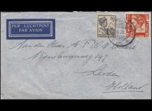 Niederländisch-Indien Königin 30 und 12 1/2 Cent MiF Lp-Brief SOERABAJA 19.6.35