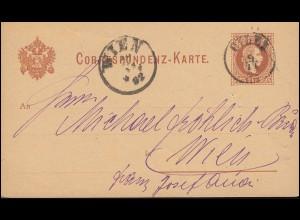 Postkarte P 25 Franz-Joseph 2 Kr. von CILLI 9.11.1882 nach WIEN