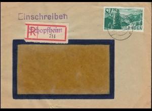 11 Höllental 84 Pf als EF auf R-Brief mit Not-R-Zettel SCHOPFHEIM 26.7.47