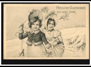 Ansichtskarte Neujahr Zwei Mädchen mit Schlittschuhen, MÜNCHEN 31.12.1907