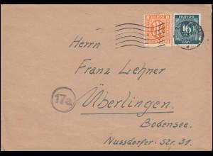 5 AM-Post 8 Pf. mit 923 Gemeinschaft MiF Brief KARLSRHE 7.4.1946 nach Überlingen