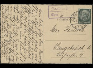 Poststellen-Stempel Saalhausen über Freital 4.6.38