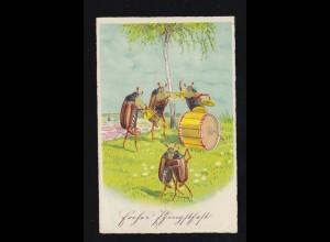 Tiere-AK Pfingsten Maikäfer beim Musizieren und Tanzen, SSt BAD WARMBRUNN 1937