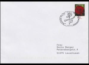 2675 Gartenrose, selbstklebend, FDC Erstverwendung Bonn 12.6.2008