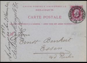 Belgien Postkarte P 15 König Leopold II. ANVERS (STATION) 21.11.1884 nach Essen