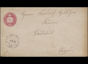 Schweiz Umschlag U 14 Wappen mit Brieftaube, WZ.2, UNTERSTRASS 4.6.1876