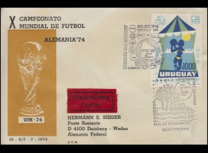 Sonderflug FUSSBALL-WM Deutschland-Uruguay, SSt MONTEVIDEO Tourismus 6.6.74