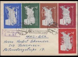 Sowjetunion: XXIII. Parteitag Landkarte 1966, 4 Werte auf R-Bf Kaluga 26.10.66