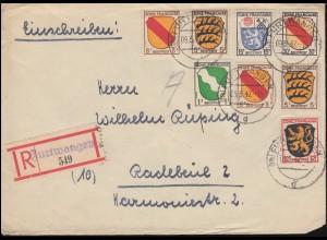 1ff Freimarken Wappen-MiF R-Brief Not-R-Zettel FURTWANGEN 9.3.1947 nach Radebeul