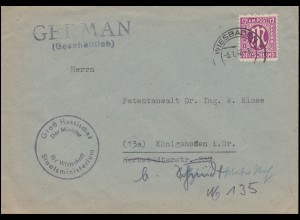 7 AM-Post 12 Pf. EF Brief Hessischer Minister für Wirtschaft WIESBADEN 5.1.46