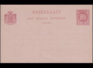 Suriname Postkarte mit Antwort Ziffer 2 1/2 C. / 2 1/2 C. um 1890 ungebraucht **