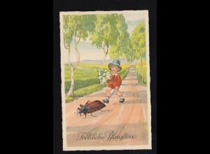 Tiere-AK Pfingsten Kind mit Blumen mit Maikäfer an der Leine, MAGDEBURG 27.5.39