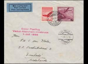 Liechtenstein Erster Postflug Vaduz-Altenrhein-Innsbruck 1.7.35 Bf. mit 145+148