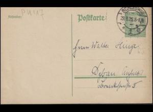Postkarte P 104 Rheinland-Feier 5 Pf. grün SCHLESWIG 29.8.25 nach Dessau/Anhalt