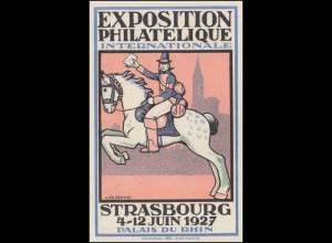 Sonderpostkarte Briefmarkenausstellung Strasbourg Postreiter 2927, SSt 7.6.27