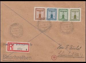 Deutsche Dienstpost Niederlande Hengelo 26.1.45 R-Brief mit Adler auf Sockel