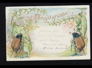 Tiere-AK Pfingsten Maikäfer halten Maiglöckchen, CAMP (BZ. DÜSSELDORF) 4.6.1900