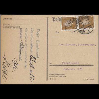 410 Ebert 3 Pf MeF Orts-Postkarte Preußisches Standesamt DÜSSELDORF 1 gg 22.1.32