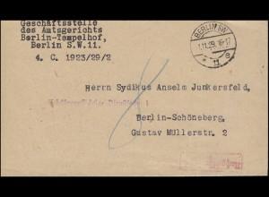 Gebührenpflichtige Dienstsache Orts-Brief Amtsgericht BERLIN SW 11 e - 1.11.1929