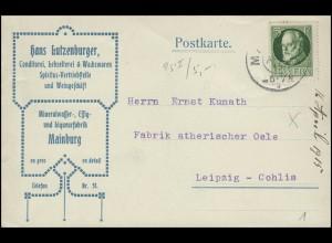 Bayern Postkarte Mineralwasser Essig Weingeschäft MAINBURG 16.4.15 nach Leipzig