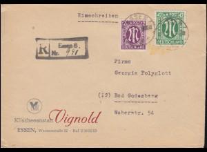 15+31 AM-Post 12+42 Pf. als MiF Not-R-Stempel Brief Fa. Vignold ESSEN 21.2.1946