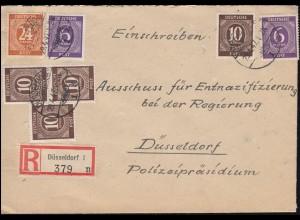Ziffer-MiF auf R-Brief DÜSSELDORF 29.4.1947 an Entnazifizierungsausschuss