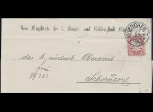 Bayern Magistrat der Stadt MÜNCHEN 30.6.86 an württemb. Oberamt SCHÖNDORF 1.7.