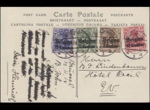 Landespost in Belgien 1-4 Aufdruck auf AK BRÜSSEL 12.11.1914