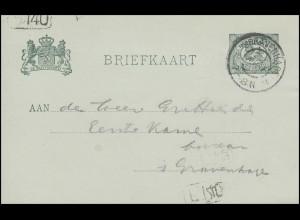 Niederlande Postkarte Ziffer 5 Cent grün S'GRAVENHAGE 22.4.04 mit Stempel F.140