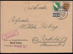 1+3 Freimarken Wappen 1 mit UR und 5 Pf MiF auf Drucksache PIRMASENS 31.3.1947