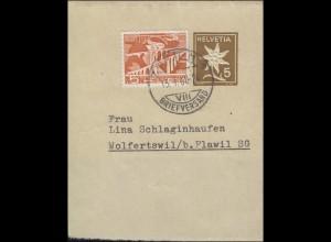 Schweiz Streifband S 49 Edelweis braun mit Zusatzfrankatur ZÜRICH 15.1.1960