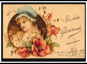Ansichtskarte Neujahr Frau mit Haube und Blumengirlande, CÖLN nach HALLE/SAALE