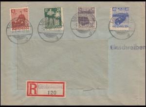 Großräschen 43-46 Solidarität Satz-R-Brief Not-R-Stempel GROSSRÄSCHEN 2.2.1946