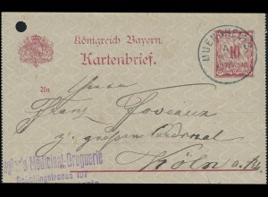 Bayern Kartenbrief Medicinal-Drogerie MÜNCHEN 4.12.97 nach CÖLN/KÖLN 5.12.97