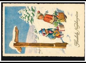 Ansichtskarte Neujahr Kinder mit Geschenken an der Wegkreuzung, PFORZHEIM 1930