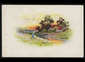 USA Postkarte 2 Cent Liberty grau NEW YORK 25.9.1910 nach Berlin / Deutschland