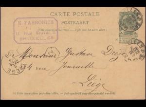 Belgien Postkarte P 30 von BRÜSSEL / BRUXELLES 2.12.1898 nach LIEGE 3.12.98