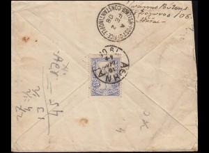 Griechenland 131 Hermes 25 L EF Brief ATHEN 16.1.1908 nach CONSTANTINOPEL 2.2.08