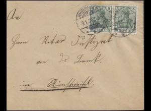 Germania 5 Pf. MeF Brief von RHEINBACH 3.1.08 nach Münstereifel 3.1.08
