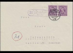 Landpost Grupenhagen über HAMELN 15.3.1946, Briefvorderseite AM-Post 12 Pf MeF