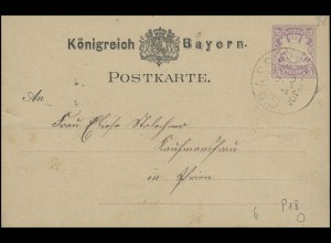 Bayern Postkarte Wappen 5 Pf. GRASSAU 9.8. nach PRIEN 9.8.