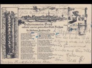 AK Gehorsamster Gruß entbietet aus der guten alten Stadt BECKUM 17.8.1905