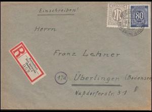 2 AM-Post mit 935 Gemeinschaft 80 Pf MiF R-Brief REICHENBACH / KARLSRUHE 8.4.46