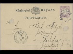 Bayern Postkarte Wappen 5 Pf BAMBERG 24.4. nach DRESDEN NEUSTADT 24.4.81